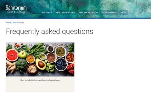 Screenshot of FAQ Page sanitarium.com.au - Sanitarium FAQs - captured Dec. 8, 2018