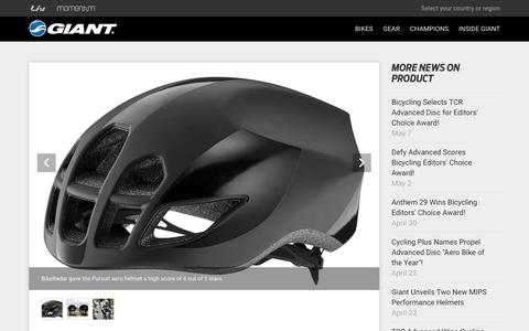 Screenshot of Press Page giant-bicycles.com - BikeRadar: Pursuit one of The Top Aero Road Helmets! - Giant Bicycles | Official site - captured May 11, 2018