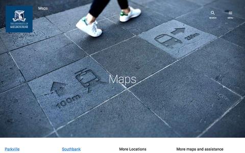 Screenshot of Maps & Directions Page unimelb.edu.au - Home : Maps : The University of Melbourne - captured Nov. 28, 2016