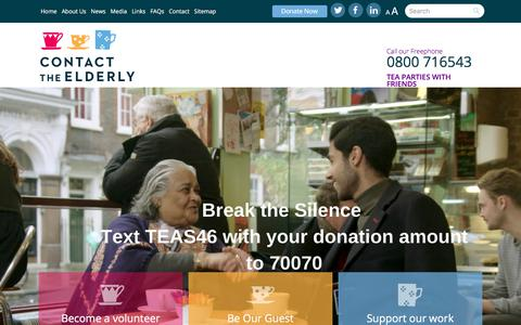 Screenshot of Home Page contact-the-elderly.org.uk - Contact the Elderly - captured July 21, 2018