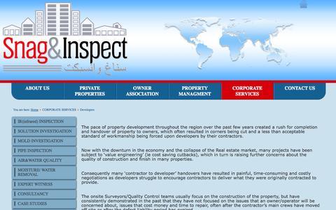 Screenshot of Developers Page snagandinspect.com - Developer Services - captured Nov. 4, 2014