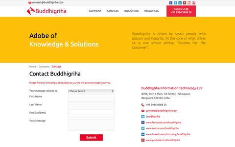 Screenshot of Contact Page buddhigriha.com - Contact Buddhigriha - captured Feb. 8, 2016