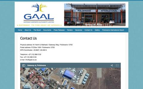Screenshot of Contact Page gaal.co.za - Contact Us | GAAL - captured Oct. 26, 2016
