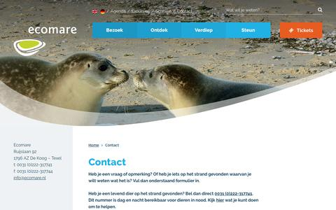 Screenshot of Contact Page ecomare.nl - Contactinformatie Ecomare   Ecomare Texel - captured July 16, 2018