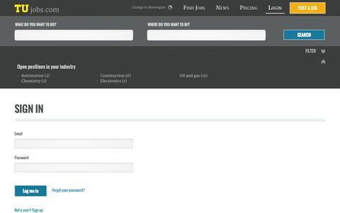 Screenshot of Login Page tujobs.com captured Sept. 30, 2014