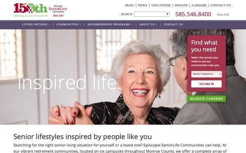 Screenshot of Home Page episcopalseniorlife.org - Exceptional Retirement Communities | Episcopal SeniorLife Communities - captured Sept. 28, 2018