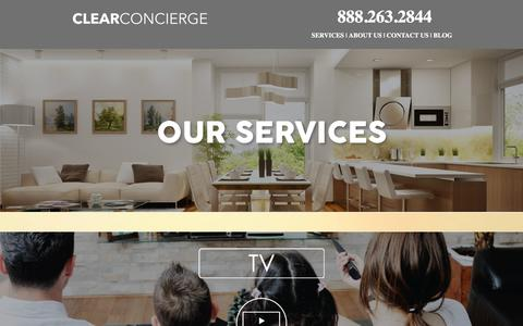 Screenshot of Services Page clearconcierge.us - Clear Concierge - captured March 10, 2016