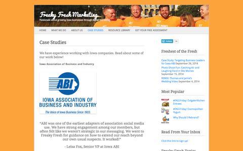 Screenshot of Case Studies Page freakyfreshmarketing.com - Case Studies | Freaky Fresh Marketing - captured Sept. 30, 2014