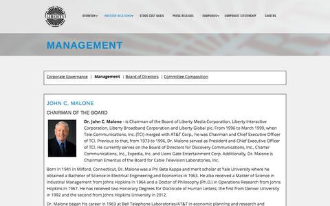 Screenshot of Team Page libertymedia.com - MANAGEMENT | Liberty Media Corporation - captured May 12, 2018