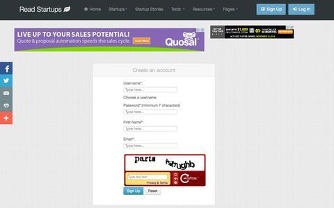 Screenshot of Signup Page readstartups.com - Online platform for Startups, Business Ideas, Entrepreneurs, Startup tools | Read Startups - captured Sept. 19, 2014