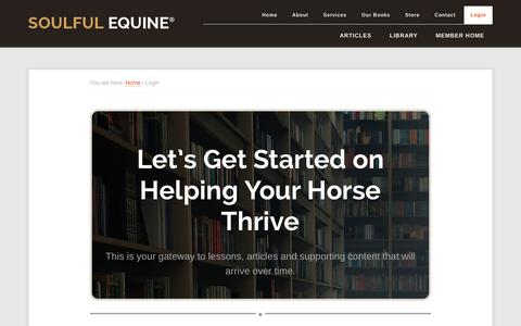Screenshot of Login Page soulfulequine.com - Login - Soulful Equine® - captured Oct. 20, 2018