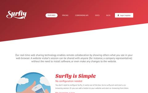 Screenshot of surfly.com - Features | Surfly - captured Dec. 9, 2016