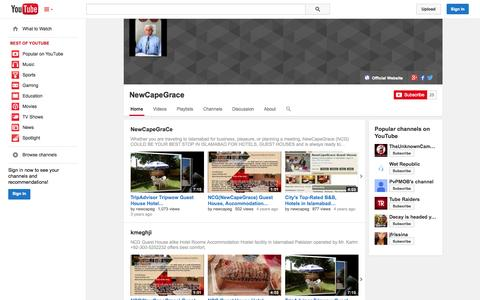 Screenshot of YouTube Page youtube.com - NewCapeGrace  - YouTube - captured Oct. 25, 2014