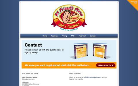 Screenshot of Contact Page dinermonkey.com - Welcome to DinerMonkey - captured Oct. 5, 2014