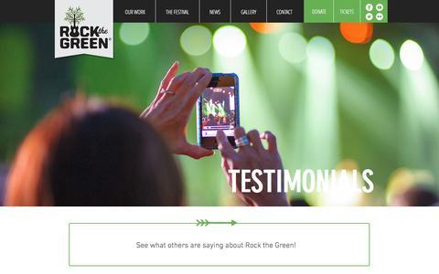 Screenshot of Testimonials Page rockthegreen.com - Rock the Green - captured Aug. 15, 2016