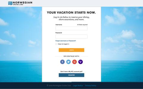 Screenshot of Login Page ncl.com - Cruises & Cruise Deals | Caribbean Cruise Vacations | Norwegian Cruise Line - captured July 11, 2019