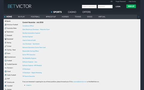 Screenshot of Jobs Page betvictor.com - Careers - BetVictor - captured Aug. 1, 2018