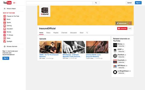 Screenshot of YouTube Page youtube.com - InsoundOfficial  - YouTube - captured Oct. 26, 2014