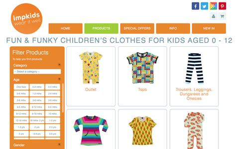 Screenshot of Products Page impkids.co.uk - Products | Childrens Clothing - Impkids - captured Sept. 26, 2016