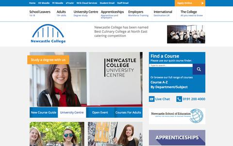 Screenshot of Home Page ncl-coll.ac.uk - Newcastle College | Unlock Your Potential - captured Oct. 18, 2018