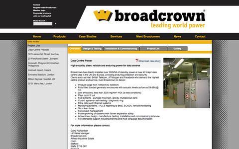 Screenshot of Case Studies Page broadcrown.com - Data centre power | Broadcrown data centre standby power - captured Nov. 3, 2014