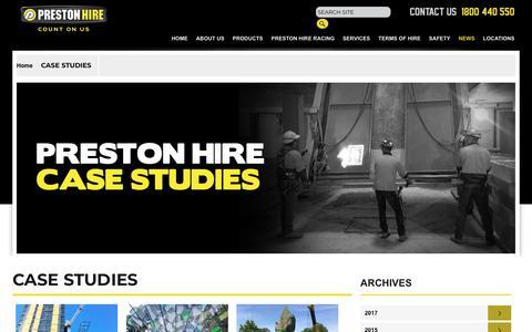 Screenshot of Case Studies Page prestonhire.com.au - Case Studies - captured July 21, 2018