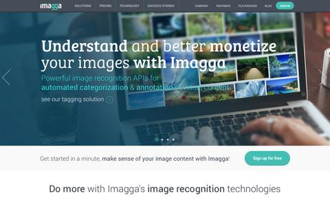 Screenshot of Home Page imagga.com - Imagga - powerful image recognition APIs for automated categorization & annotation of visual content - captured Sept. 16, 2014