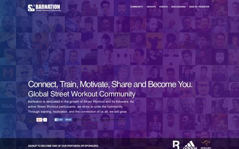 Screenshot of Home Page barnation.org - BarNation - Street Workout Community - captured Dec. 29, 2015