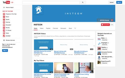 Screenshot of YouTube Page youtube.com - INSTEON  - YouTube - captured Oct. 23, 2014
