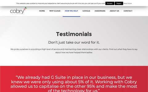 Screenshot of Testimonials Page cobry.co.uk - Testimonials | Hear about what our clients have to say about us - cobry - captured Dec. 8, 2018