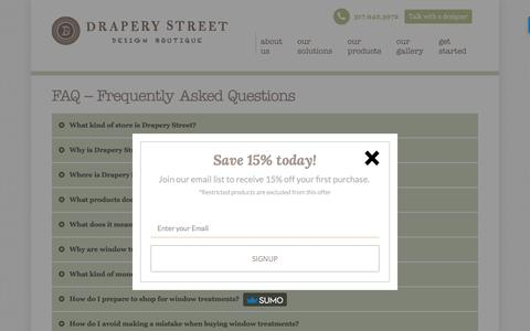 Screenshot of FAQ Page draperystreet.com - Frequently Asked Questions - Drapery Street - captured Nov. 5, 2017