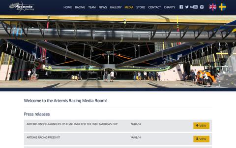 Screenshot of Press Page artemisracing.com - Media   Artemis Racing - captured Oct. 4, 2014