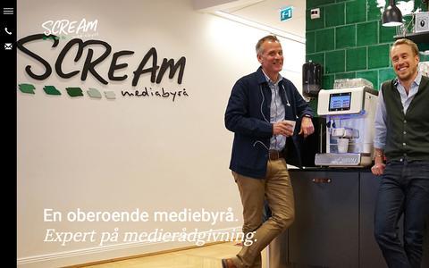 Screenshot of Home Page scream.se - Mediebyrå Medierådgivning   Scream Mediabyrå - captured Nov. 15, 2018
