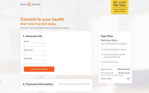 Screenshot of Landing Page dailyburn.com - Daily Burn — A Better Fit. - captured March 24, 2017