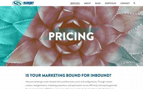 Screenshot of Pricing Page sagemg.com - Inbound Marketing Pricing   Sage Marketing Group - captured Oct. 1, 2018