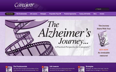 Screenshot of Home Page caregiveralzheimers.com - Caregiver Alzheimer's   Book on Dementia and Alzheimers Caregiving - captured Sept. 29, 2014