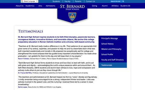 Screenshot of Testimonials Page stbernardhs.org - Testimonials – About Us – St. Bernard Catholic High School - captured July 1, 2018