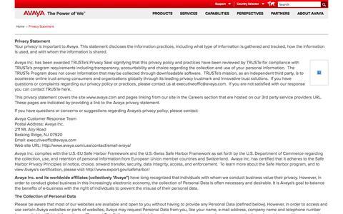 Screenshot of Privacy Page avaya.com - Privacy Statement - captured Oct. 10, 2014