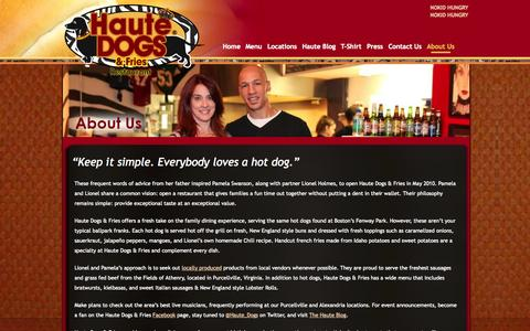 Screenshot of About Page hautedogsandfries.com - About Us | Haute Dogs & Fries | The Best Hot Dogs In Virginia | Purcellville & Alexandria Restaurants - captured Oct. 2, 2014