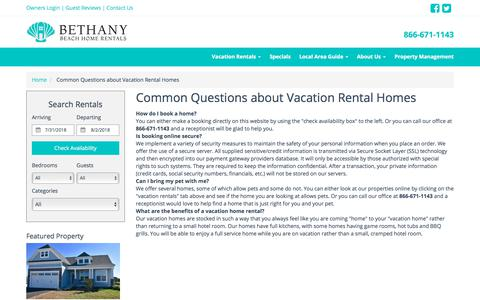 Screenshot of FAQ Page bethanybeachhomerentals.com - Frequently Asked Questions | Bethany Beach Home Rentals Vacation Rentals - captured Aug. 1, 2018