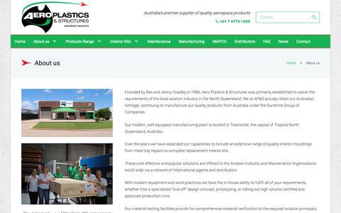 Screenshot of About Page aeroplastics.com.au - About us - Aeroplastics, Australia, Aerospace Products - captured Oct. 3, 2018