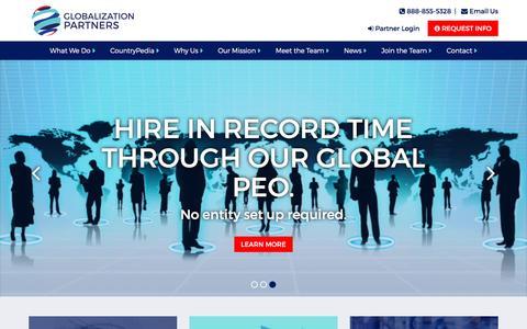 Screenshot of Home Page globalization-partners.com - Global PEO, Global Employee Leasing | Globalization Partners - captured May 20, 2017