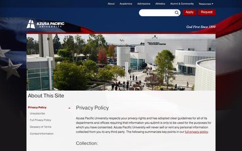 Privacy Policy - About This Site - Azusa Pacific University