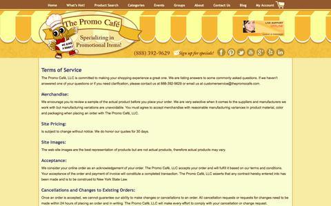 Screenshot of Terms Page thepromocafe.com - Terms of Service - The Promo Cafe The Promo Cafe - captured June 15, 2017