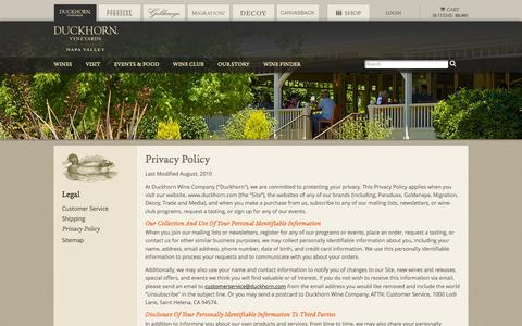 Screenshot of Privacy Page duckhorn.com - Duckhorn Vineyards - Privacy Policy - captured Sept. 25, 2014