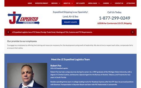 Screenshot of Team Page jzexplogistics.com - The Team - www.jzexplogistics.com - captured Feb. 11, 2016