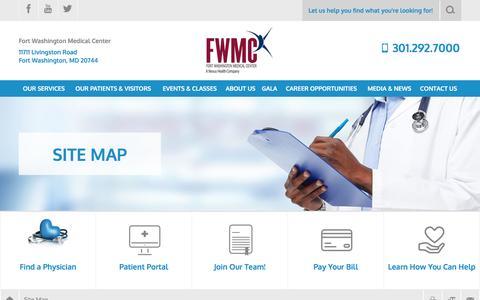 Screenshot of Site Map Page fortwashingtonmc.org - Site Map   Fort Washington Medical Center - captured Nov. 25, 2016