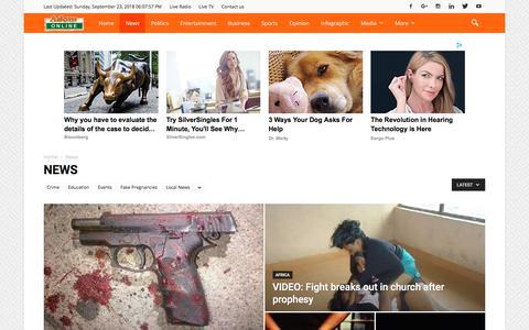 Screenshot of Press Page adomonline.com - News Archives - AdomOnline.com - captured Sept. 24, 2018