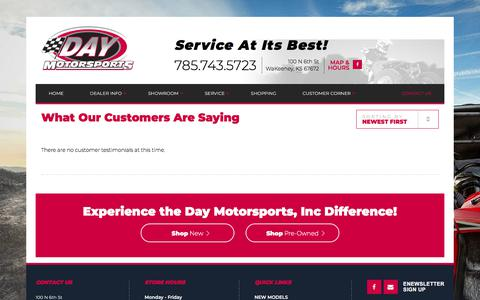 Screenshot of Testimonials Page daymotorsportsinc.com - Testimonials | Day Motorsports, Inc | WaKeeney Kansas - captured Aug. 6, 2018