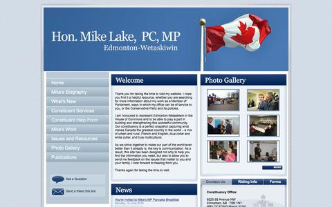 Screenshot of Home Page mikelake.ca - Mike Lake : Member of Parliament for Edmonton-Wetaskiwin : Home - captured March 11, 2016